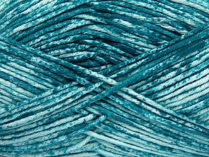 Strong pure cotton yarn in beautiful colours, reminiscent of bleached denim. Machine washable and dryable. Fiber Content 100% Cotton, White, Teal, Brand Ice Yarns, Yarn Thickness 3 Light  DK, Light, Worsted, fnt2-42575