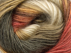 Fiber Content 40% Wool, 30% Mohair, 30% Acrylic, Salmon, Khaki, Brand Ice Yarns, Gold, Cream, Yarn Thickness 3 Light  DK, Light, Worsted, fnt2-45801