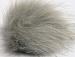 2 Faux Fur PomPoms Light Grey