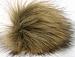 2 Faux Fur PomPoms Camel, Brown
