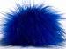 2 Faux Fur PomPoms Blue, Black