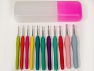 A set of 11 soft grip crochet hooks. Sizes: 2 mm, 2.5mm, 3mm, 3.5mm, 4mm, 4.5mm, 5mm, 5.5mm, 6mm, 7 mm, 8 mm. Comes in hook case. Brand Ice Yarns, acs-1213