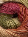 Fiber Content 57% Premium Acrylic, 3% Metallic Lurex, 20% Mohair, 20% Wool, Brand Ice Yarns, Green Shades, Burgundy, Brown, Yarn Thickness 2 Fine  Sport, Baby, fnt2-50321