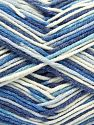 Fiber Content 50% Acrylic, 50% Cotton, White, Brand Ice Yarns, Blue Shades, Yarn Thickness 2 Fine  Sport, Baby, fnt2-66580