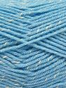 Fiber Content 76% Acrylic, 14% Cotton, 10% Bamboo, Brand Ice Yarns, Cream, Baby Blue, Yarn Thickness 2 Fine  Sport, Baby, fnt2-67092