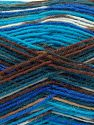 Fiber Content 75% Superwash Wool, 25% Polyamide, Turquoise Shades, Brand Ice Yarns, Brown Shades, Yarn Thickness 1 SuperFine  Sock, Fingering, Baby, fnt2-67409